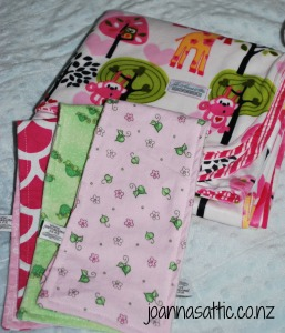 Our baby blanket and burp cloths